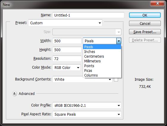 perhatikan saat membuat file baru pada photoshop