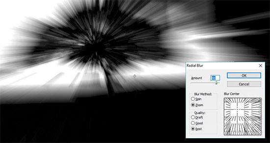 Efek cahaya dengan radial blur