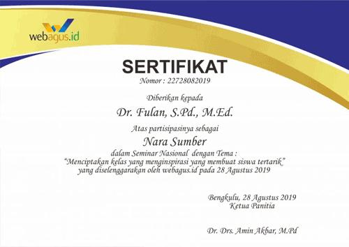 Contoh template sertifikat Corel