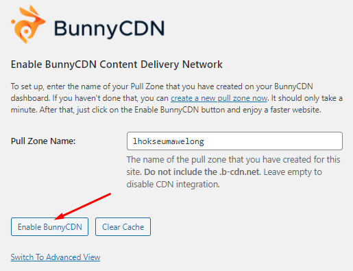 Enable BunnyCDN