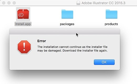 The installation cannot continue as the installer file may be damaged