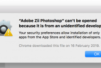 Adobe Zii Photoshop can't be opened because it is from an unidentified developer